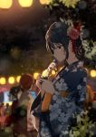 2others 3girls bangs black_hair blurry blurry_background bottle floral_print flower hair_flower hair_ornament half-closed_eyes holding holding_bottle japanese_clothes kanzashi kimono lantern multiple_girls multiple_others night original outdoors paper_lantern ramune shiina_kuro solo_focus summer_festival wide_sleeves yukata