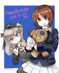 2girls afterimage bandages bandaid bangs beret black_headwear black_jacket black_neckwear black_ribbon blue_background blue_jacket boko_(girls_und_panzer) brown_eyes brown_hair commentary dated dress_shirt emblem english_text eyebrows_visible_through_hair girls_und_panzer hair_ribbon happy_birthday hat head_tilt highres holding holding_stuffed_animal jacket japanese_tankery_league_(emblem) leaning_to_the_side light_brown_eyes light_brown_hair long_hair long_sleeves military military_hat military_uniform miniskirt morosuke motion_blur multiple_girls nishizumi_miho one_side_up ooarai_military_uniform outside_border peeking_out pleated_skirt ribbon selection_university_(emblem) selection_university_military_uniform shimada_arisu shirt short_hair skirt standing stuffed_animal stuffed_toy teddy_bear twitter_username uniform w waving white_shirt white_skirt