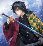 1boy bangs belt black_hair black_jacket blue_eyes buttons closed_mouth collar collared_jacket forest hand_on_belt haori highres holding holding_sword holding_weapon jacket japanese_clothes katana kimetsu_no_yaiba long_hair long_sleeves looking_at_viewer low_ponytail male_focus nature outdoors sheath snowing solo standing sword tomioka_giyuu uniform upper_body weapon wide_sleeves yuuhi_(yukivivi)