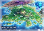 castle city company_name copyright_name fantasy forest from_above highres nature no_humans official_art plateau river scenery shiki_makoto water watermark zenonzard