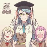 1girl adjusting_eyewear aqua_hair aqua_neckwear ayasaka bang_dream! blonde_hair collared_shirt commentary_request dog glasses green_eyes hair_ribbon half_updo hanasakigawa_school_uniform hat hikawa_sayo jacket leon_(bang_dream!) long_hair long_sleeves maruyama_aya mortarboard neck_ribbon necktie nippon_housou_kyoukai pink_hair puppet red_neckwear ribbon school_uniform shirasagi_chisato shirt smile solo tan_background teacher waving white_jacket