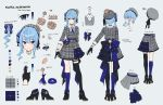1girl blue_eyes blue_hair bow cardigan character_sheet crown highres hololive hoshimachi_suisei teshima_nari virtual_youtuber