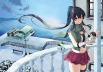 1girl bench black_hair gloves green_scarf ichinomiya_(blantte) kantai_collection lamppost long_hair looking_at_viewer midriff navel ocean outdoors pleated_skirt ponytail railing red_eyes red_skirt scarf school_uniform serafuku sidelocks single_thighhigh skirt snow snow_bunny snowman solo thigh-highs twilight white_gloves wind yahagi_(kantai_collection)