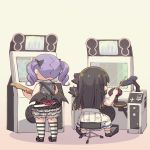 2girls arcade_cabinet ayasaka bang_dream! black_bow black_footwear black_hair bow commentary_request drum drumsticks electric_guitar from_behind guitar hair_bow instrument layered_skirt multiple_girls playing_games purple_hair shirokane_rinko shoes sitting skirt standing striped striped_legwear thigh-highs twintails udagawa_ako
