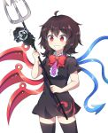 1girl ahoge asymmetrical_wings bangs black_dress black_hair black_legwear blue_wings blush bow bowtie caramell0501 center_frills commentary_request cookie_run cowboy_shot dress eyebrows_visible_through_hair flying_sweatdrops grin holding holding_weapon houjuu_nue polearm red_bow red_eyes red_neckwear red_wings short_dress short_hair short_sleeves simple_background smile squid_ink_cookie standing thigh-highs thighs touhou trident weapon white_background wings zettai_ryouiki