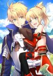 1boy 1girl ahoge armor arthur_pendragon_(fate) bare_shoulders blonde_hair braid breastplate child fangs fate/apocrypha fate/grand_order fate/prototype fate_(series) father_and_daughter french_braid gauntlets greaves green_eyes highres mordred_(fate) mordred_(fate)_(all) pauldrons ponytail red_scrunchie scrunchie shiguru younger