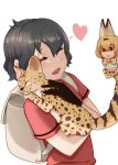 2girls animal_ears backpack bag bare_shoulders black_hair blonde_hair blush bow bowtie cat closed_eyes commentary_request elbow_gloves eyebrows_visible_through_hair gloves heart high-waist_skirt highres holding holding_cat kaban_(kemono_friends) kemono_friends multiple_girls natuki_takumi no_hat no_headwear print_gloves print_neckwear print_skirt red_shirt serval serval_(kemono_friends) serval_ears serval_girl serval_print serval_tail shirt short_hair short_sleeves skirt sleeveless t-shirt tail yellow_eyes