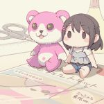 0_0 :3 :d ayasaka bang_dream! bangs black_eyes black_hair blue_shorts blush_stickers character_doll commentary_request grey_shirt hair_ornament hairclip medium_hair michelle_(bang_dream!) needle no_humans okusawa_misaki open_mouth ruler scissors shirt shorts sitting smile sparkling_eyes stuffed_animal stuffed_toy tank_top teddy_bear white_shirt