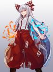 1girl baggy_pants bangs black_footwear boots bow breasts feet_out_of_frame fire fujiwara_no_mokou gradient gradient_background grey_background grin hair_between_eyes hair_bow long_hair looking_at_viewer ofuda paburisiyasu pants red_eyes red_pants shirt short_sleeves sidelocks silver_hair small_breasts smile solo standing suspenders torn_clothes torn_sleeves touhou v-shaped_eyebrows very_long_hair white_bow white_shirt wing_collar
