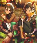 2girls :o :t abo_(kawatasyunnnosukesabu) apron autumn autumn_leaves bangs bench black_coat black_eyes black_hair black_scarf black_skirt blush boots broom brown_coat brown_footwear coat commentary_request day eating food frilled_apron frilled_skirt frilled_sleeves frills fruit highres holding holding_food holding_fruit leaf leaf_on_head long_hair long_sleeves maid multiple_girls orange_scarf original outdoors park_bench persimmon plaid plaid_scarf red_eyes scarf sitting skirt smile squatting wide_sleeves
