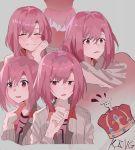 1girl :o ai-chan_(pixiv29351299) closed_eyes crown grey_background hair_between_eyes hand_up koharu_yoshino medium_hair multiple_views pink_hair red_eyes sakura_quest smile