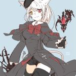 1girl :3 animal_ears artist_name beret black_capelet black_headwear black_shorts blue_background boots bow breasts capelet cat_ears cat_girl closed_mouth earrings facial_mark final_fantasy final_fantasy_xiv hat heterochromia high_heel_boots high_heels holding holding_sword holding_weapon jewelry leg_up lili_mdoki lion_tail long_hair long_sleeves medium_breasts miqo'te rapier red_bow red_eyes red_mage ring shorts slit_pupils smile solo sword tail thigh-highs thigh_boots thighs weapon whisker_markings white_hair yellow_eyes zettai_ryouiki