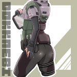 1girl absurdres armor ass belt black_gloves black_nails black_pants gloves head_out_of_frame highres korean_text long_sleeves pants partly_fingerless_gloves rainbow_six_siege simple_background solo standing tablet_pc udondon18 utility_belt