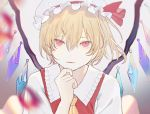 1girl :3 ascot bangs biting blonde_hair blurry blurry_foreground chromatic_aberration commentary_request finger_to_chin flandre_scarlet floating_hair frilled_hat frilled_shirt_collar frills grey_background hair_between_eyes half-closed_eyes hand_on_own_chin hand_up hat hat_ribbon highres iei000 lip_biting lips looking_at_viewer mob_cap one_side_up open_collar puckered_lips red_eyes red_ribbon red_vest ribbon shirt short_hair short_sleeves sidelocks simple_background solo touhou upper_body vest white_headwear white_shirt wide_sleeves wings yellow_neckwear
