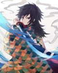 1boy asymmetrical_bangs bangs black_hair blue_eyes closed_mouth eugeboy_zzzzz fighting_stance haori highres holding holding_sword holding_weapon japanese_clothes katana kimetsu_no_yaiba long_hair long_sleeves looking_at_viewer low_ponytail male_focus solo splatter standing steam sword tomioka_giyuu waves weapon wide_sleeves