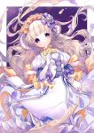 1girl back_bow bow brown_eyes dress elbow_gloves flower frilled_hairband frills gloves hairband horns light_brown_hair long_hair looking_at_viewer mizumori_(xcllcx) orange_ribbon original purple_flower purple_ribbon ribbon sheep_horns short_sleeves solo white_gloves yellow_neckwear