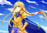 1girl alice_schuberg armor armored_dress artist_name bangs blonde_hair blue_eyes blue_sky braid clouds commentary eyebrows_visible_through_hair floating_hair gold_armor hairband highres holding long_hair looking_at_viewer outdoors rinse_7 sky solo standing sword sword_art_online very_long_hair weapon white_hairband