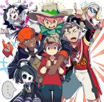 ... 6+boys ahoge arm_around_shoulder beanie black_hair bright_pupils cable_knit choker dark_skin dark_skinned_male freckles gen_4_pokemon green_eyes gym_leader hat iroyopon jacket jewelry kabu_(pokemon) kibana_(pokemon) makuwa_(pokemon) masaru_(pokemon) mask multicolored_hair multiple_boys nezu_(pokemon) onion_(pokemon) pale_skin pink_hair plaid pointing pokemon pokemon_(game) pokemon_swsh red_shirt ring rotom rotom_phone salute shaded_face shirt shorts spoken_ellipsis sunglasses sweat towel towel_around_neck two-finger_salute two-tone_hair white_jacket yarrow_(pokemon)