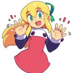 1girl :d blonde_hair blush_stickers dress eyebrows_visible_through_hair green_eyes green_ribbon hair_between_eyes hair_ribbon long_hair looking_at_viewer metata open_mouth ponytail red_dress ribbon rockman roll simple_background smile solo white_background