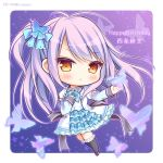 1girl :o bangs black_legwear blue_bow blue_dress blush bow brown_eyes brown_footwear bug butterfly butterfly_hair_ornament character_name chibi collared_shirt commentary_request dress eyebrows_visible_through_hair frilled_legwear full_body hair_bow hair_ornament happy_birthday insect kneehighs long_hair long_sleeves one_side_up parted_lips puffy_short_sleeves puffy_sleeves purple_hair ryuuka_sane saijou_hifumi shirt short_over_long_sleeves short_sleeves sleeves_past_wrists solo tayutama_2 twitter_username very_long_hair white_shirt