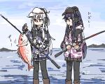 2girls akatsuki_(kantai_collection) anchor_symbol black_hair black_headwear black_legwear black_skirt boots commentary_request earmuffs fish fishing_rod flat_cap gloves hammer_and_sickle hat hibiki_(kantai_collection) hinata_hibari jacket kantai_collection long_hair multiple_girls partly_fingerless_gloves pleated_skirt skirt translation_request verniy_(kantai_collection) white_hair white_headwear