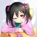 1girl black_hair blush bon_(bonbon315) bow commentary_request face green_bow grin hair_between_eyes hair_bow jacket long_hair long_sleeves looking_at_viewer love_live! love_live!_school_idol_project one_eye_closed pink_bow pink_jacket red_eyes sitting smile twintails two_side_up yazawa_nico