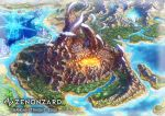 castle city clouds company_name copyright_name day electricity fantasy forest highres molten_rock mountain nature no_humans ocean official_art outdoors river scenery shiki_makoto smoke watermark zenonzard