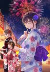 3girls :d aerial_fireworks black-framed_eyewear black_kimono blue_eyes blue_flower blurry blurry_background blush braid brown_eyes brown_hair closed_mouth commentary_request depth_of_field fan fireworks floral_print flower fukahire_(ruinon) glasses hair_flower hair_ornament highres holding holding_fan japanese_clothes kimono long_hair low_twintails multiple_girls night night_sky obi open_mouth original outdoors paper_fan pink_flower pink_kimono print_kimono red_flower sash semi-rimless_eyewear sky smile stall twin_braids twintails uchiwa under-rim_eyewear very_long_hair violet_eyes white_flower white_kimono yellow_flower