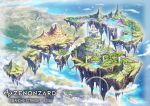 bird chain clouds company_name copyright_name day fantasy floating_island forest highres mountain nature official_art outdoors rainbow scenery shiki_makoto skeleton tower water waterfall watermark zenonzard