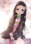 1girl :d aties20 bamboo bangs bit_gag black_hair blurry blurry_foreground blush brown_hair checkered commentary_request depth_of_field dutch_angle fangs flower forehead gag gradient_hair hair_ribbon japanese_clothes kamado_nezuko kimetsu_no_yaiba kimono long_hair long_sleeves looking_at_viewer multicolored_hair obi open_clothes open_mouth parted_bangs petals pink_kimono pink_ribbon ribbon sash sleeves_past_wrists smile solo very_long_hair violet_eyes white_flower wide_sleeves