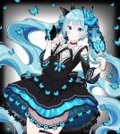 1girl absurdres alternate_costume aqua_hair bangs bare_shoulders black_choker black_dress black_nails blue_butterfly blue_eyes blush bracelet butterfly_hair_ornament choker cowboy_shot dress eyebrows_visible_through_hair gem gradient gradient_background grey_background hair_ornament hatsune_miku highres jewelry layered_dress long_hair looking_at_viewer mizuamemochimochi nail_polish parted_lips sapphire_(gemstone) see-through shoulder_cutout solo thigh_strap twintails very_long_hair vocaloid