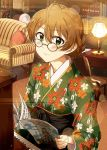 1girl ahoge ayano_yuu_(sonma_1426) bespectacled black_hakama blush book bookshelf braid brown_hair chair closed_mouth commentary_request couch cushion desk desk_lamp eyebrows_visible_through_hair floral_print glasses glint green_eyes green_kimono hair_between_eyes hakama highres holding holding_book idolmaster idolmaster_million_live! idolmaster_million_live!_theater_days indoors instrument japanese_clothes kimono lamp light_smile long_sleeves looking_at_viewer open_book piano print_kimono round_eyewear sakuramori_kaori sheet_music short_hair sitting solo tied_hair upper_body