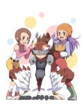 1boy 2girls all_fours animal_ears artist_request back_bow bangs belt belt_buckle bird_legs boots bow buckle cat_ears chest_protector claws commentary_request covered_eyes digimon digimon_adventure_02 dressing_another elbow_gloves embarrassed eyelashes fang fang_out feathered_wings flower flower_on_head full_body fur glasses gloves green_footwear hair_ornament hairclip hat helmet inoue_miyako leaning_forward long_hair long_sleeves medium_hair multiple_girls open_mouth oversized_limbs pants pink_gloves pink_shirt polka_dot polka_dot_background red_pants round_eyewear shadow shirt short_hair shorts shoulder_pads sidelocks silphymon simple_background sleeveless sleeveless_turtleneck socks squatting standing sweatdrop swept_bangs turtleneck two-tone_footwear two-tone_jacket two-tone_shirt visor white_background white_gloves white_legwear white_shirt wings yagami_hikari yellow_shorts zipper