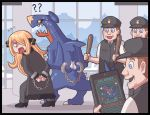 0_0 1girl arrest ayyk92 black_dress blonde_hair blue_eyes claws cuffs dragon dress flying_sweatdrops garchomp hair_ornament hair_over_one_eye handcuffs long_hair pokemon pokemon_(game) pokemon_dppt pokemon_swsh shirona_(pokemon) sweat tablet_pc