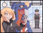 1boy 1girl airport ayyk92 black_dress blonde_hair blush cellphone claws dragon dress garchomp grin hair_ornament hair_over_one_eye hat long_hair phone pokemon pokemon_(game) pokemon_dppt pokemon_swsh police shirona_(pokemon) smartphone smile uniform uniform_vest