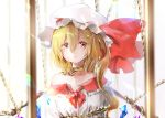 1girl bangs bare_shoulders blonde_hair bound bow chain chained collarbone commentary crying crying_with_eyes_open crystal flandre_scarlet frilled_shirt_collar frills hair_between_eyes hat hat_bow long_hair long_sleeves looking_at_viewer mob_cap off-shoulder_shirt off_shoulder one_side_up parted_lips red_bow red_eyes shironeko_yuuki shirt solo tears tied_up touhou upper_body white_headwear white_shirt wings