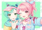 2girls :p ;d alternate_hairstyle aqua_hair bang_dream! bangs blue_bow blue_ribbon bow breast_pocket choker double_bun earrings fur_trim green_background green_eyes hair_bow hair_ornament hair_ribbon hairclip heart heart_earrings hikawa_hina jewelry long_sleeves maruyama_aya minori_(faddy) multiple_girls nail_polish neck_ribbon one_eye_closed open_mouth pink_bow pink_choker pink_eyes pink_hair pink_neckwear pink_ribbon pocket ponytail ribbon self_shot sleeve_ribbon smile striped striped_choker striped_ribbon tongue tongue_out triangle_earrings upper_body v_over_mouth visor_cap x_hair_ornament