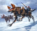 blue_sky clouds company_name copyright_name day mecha missile no_humans official_art outdoors running sky snowing tori_yuhu watermark zenonzard