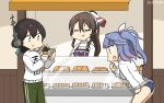 3girls aircraft airplane alternate_costume ashigara_(kantai_collection) bangs black_hair blue_hair blue_ribbon blue_swimsuit bread brown_eyes brown_hair closed_eyes commentary_request counter dated fang folded_ponytail food green_eyes green_pants hair_ribbon hairband hamu_koutarou headphones highres i-19_(kantai_collection) kantai_collection kasuga_maru_(kantai_collection) long_hair long_sleeves multiple_girls pants ponytail purple_apron red_eyes ribbon skin_fang smug sweater swept_bangs swimsuit swimsuit_under_clothes track_pants tri_tails wavy_hair white_sweater