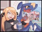 1girl ayyk92 black_dress blonde_hair blush brochure claws coffee dragon dress garchomp hair_ornament hair_over_one_eye long_hair pokemon pokemon_(game) pokemon_dppt pokemon_swsh shirona_(pokemon)
