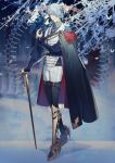 1boy bangs black_cape black_legwear blue_hair blurry blurry_background brown_eyes cane cape grey_hair hair_over_one_eye hand_up highres long_sleeves looking_at_viewer male_focus pants parted_bangs pixiv_fantasia pixiv_fantasia_last_saga rezia snow solo standing vest white_butterfly white_vest