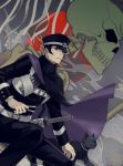 1boy black_hair cape devil_summoner gouto green_eyes hat highres kuzunoha_raidou male_focus morimiya_(kuroro) one_knee peaked_cap sheath sheathed shin_megami_tensei sideburns slit_pupils solo sword weapon