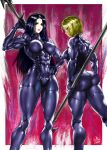 2girls ass black_hair blonde_hair bodysuit breasts character_request from_behind gloves hand_on_hip highres large_breasts lipstick long_hair looking_at_viewer makeup medium_breasts multiple_girls muscle muscular_female one-punch_man polearm short_hair signature smile spear the_golden_smurf weapon yellow_eyes