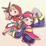 2girls :d alternate_hairstyle apron ayasaka bang_dream! basket blonde_hair blue_pants braid brown_eyes brown_hair capelet chinese_clothes claws cleavage_cutout commentary_request cosplay double_bun gun hair_rings halloween_costume hat holding holding_gun holding_weapon hood hood_up hooded_capelet ichigaya_arisa lei_lei lei_lei_(cosplay) little_red_riding_hood little_red_riding_hood_(grimm) little_red_riding_hood_(grimm)_(cosplay) long_hair long_sleeves looking_at_viewer multiple_girls ofuda open_mouth pants qing_guanmao red_capelet red_footwear red_skirt shoes single_braid skirt smile toyama_kasumi vampire_(game) violet_eyes weapon white_apron