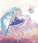 1girl ^_^ amulet aqua_eyes aqua_hair argyle_print blue_dress cane cape closed_eyes commentary crystal detached_sleeves dress framed_breasts frilled_dress frilled_sleeves frills full_body hatsune_miku highres holding holding_cane holding_staff juliet_sleeves layered_dress long_hair long_sleeves looking_at_another neck_ruff outdoors outstretched_arm princess puffy_sleeves rabbit rabbit_yukine slippers smile snowflakes staff standing strapless striped_sleeves thigh-highs twintails very_long_hair vocaloid white_legwear white_sleeves yuki_miku yuki_miku_(2019) yuruyume1224