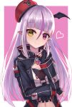 1girl absurdres bangs beret black_gloves black_jacket blunt_bangs brown_eyes character_request closed_mouth commentary_request crop_top ear_piercing fang fang_out fingerless_gloves gloves hat heart heterochromia highres jacket long_hair long_sleeves looking_at_viewer masaki_(msk064) multicolored_hair navel neck_ribbon piercing pink_background pointy_ears purple_hair red_headwear red_ribbon ribbon shirt silver_hair smile solo streaked_hair tilted_headwear two-tone_background upper_body very_long_hair vgaming violet_eyes virtual_youtuber white_background white_shirt