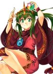 1girl bracelet closed_mouth dress fire_emblem fire_emblem:_mystery_of_the_emblem fire_emblem_heroes fuussu_(21-kazin) green_eyes green_hair holding jewelry long_hair orb pink_dress pointy_ears ponytail short_dress simple_background solo tiara tiki_(fire_emblem) white_background