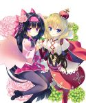 2girls absurdres arikawa_satoru bangs black_footwear black_hair black_legwear blonde_hair blue_eyes blush bow crown expressionless eyebrows_visible_through_hair floral_print flower flower_knight_girl hair_between_eyes hair_bow hair_flower hair_ornament hair_rings hairband highres holding_hands long_hair looking_at_viewer mini_crown multiple_girls novel_illustration official_art onamomi_(flower_knight_girl) pantyhose pink_bow pink_skirt pleated_skirt print_bow red_legwear red_skirt shakuyaku_(flower_knight_girl) shoes short_hair simple_background skirt smile violet_eyes waist_bow whip white_background