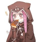 ! +_+ 1girl animal_ears animal_hood black_cloak black_gloves blush cloak closed_mouth eating fake_animal_ears fate/grand_order fate_(series) food gloves hands_up highres holding holding_food hood hood_up hooded_cloak long_hair medusa_(lancer)_(fate) purple_hair rider sidelocks signature simple_background sofra solo upper_body violet_eyes white_background