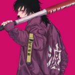 1boy alternate_costume back bangs baseball_bat black_hair blue_eyes closed_mouth edged-0703 highres holding holding_baseball_bat holding_weapon jacket kimetsu_no_yaiba long_hair long_sleeves looking_at_viewer looking_back low_ponytail male_focus pink_background purple_jacket simple_background solo tomioka_giyuu weapon